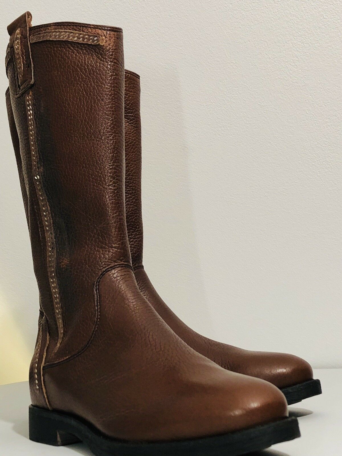 Nana' Ladies Calf Cognac Leather Riding Boots Size US 5. Rrp