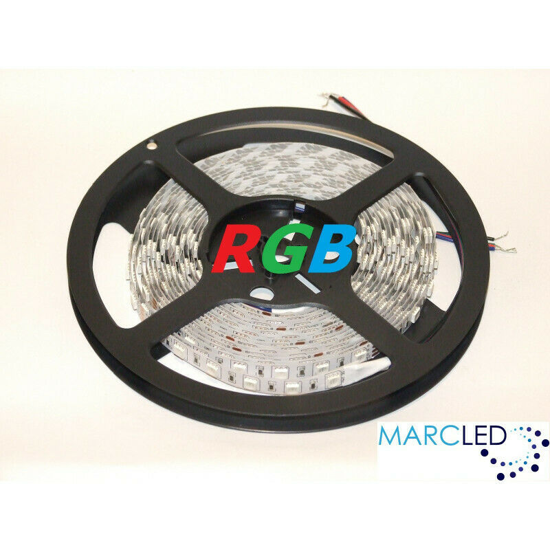12VDC RGB LED Flexible Strip SMD5050, 14.4W m, IP54, 5m (72W, 300LEDs)