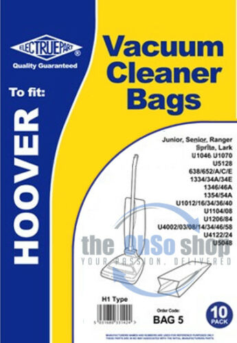 U1036 U1034 U1016 U1040 20 x Hoover Sacs D/'Aspirateur Type H1 Junior U1012