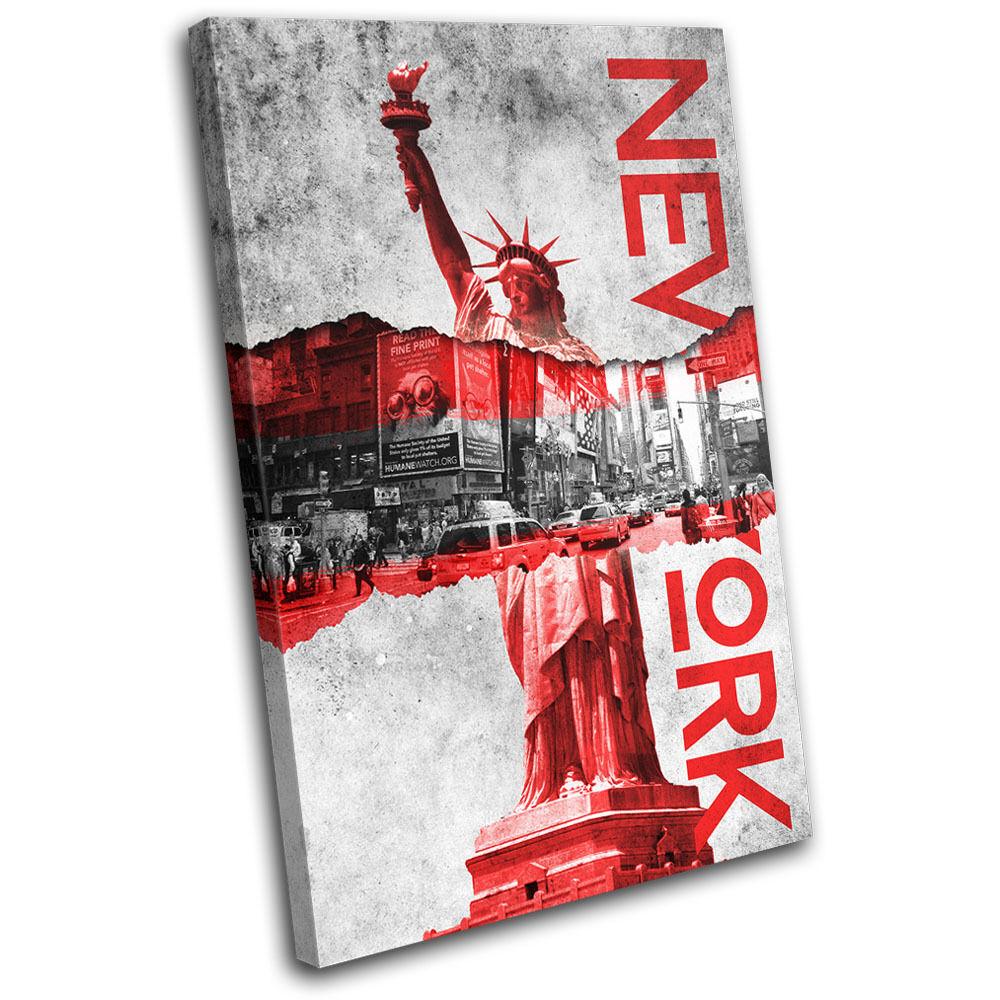 New York Torn Poster City SINGLE TOILE murale ART Photo Print