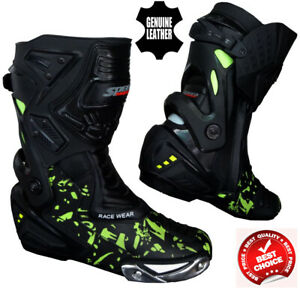 MENS-HiViz-CAMO-SPEED-MAXX-MOTORBIKE-MOTORCYCLE-CE-RACING-LEATHER-SHOES-BOOTS