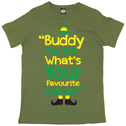 UNOFFICIAL BUDDY THE ELF WHATS YOUR FAVOURITE COLOUR MENS CHRISTMAS T-SHIRT