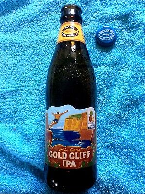 HAWAII BEER BOTTLE EMPTY KONA BREWING GOLD CLIFF IPA 12oz w// LABEL and CAP NEW