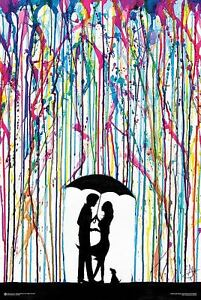 psychedelic watercolor couple umbrella poster colorful rainbow