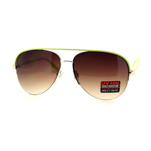 Half Rim Aviator Sunglasses Women/'s Color Top Oversized Aviators
