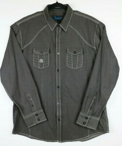 Roar-Foundation-Mens-Size-2XL-Long-Sleeve-Button-Up-Shirt-Gray-White