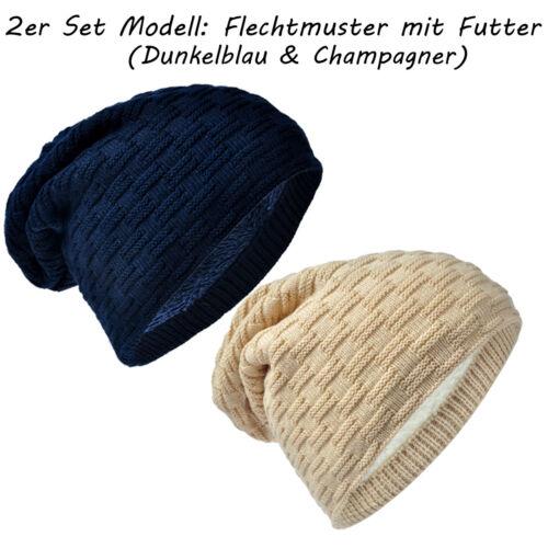 2 Stück Dicke Winter Flechtmuster Beanie Mütze Strick XXL Long Dick Innenfutter