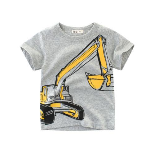 Boys T-Shirt Excavator Kid Girl Children Tops Short Sleeve Cotton Clot/_WK