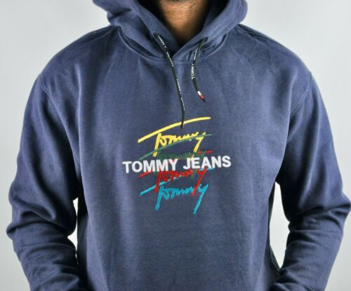 TOMMY JEANS Signature Embroidered Logo Hoodie Jumper in Navy