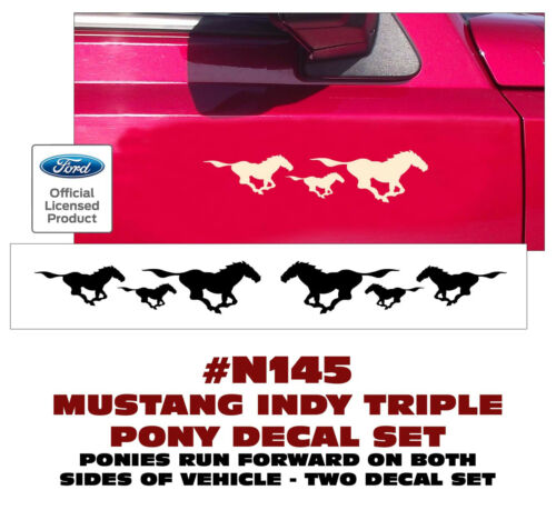 """INDY TRIPLE PONY DECALS 2/"""" TALL TWO DECALS RUN FORWARD N145 FORD MUSTANG"""