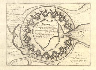 Mecklenburg-vorpommern Fortifed Town/city Plan Systematic 'wismar' De Fer 1705 Old Map For Sale