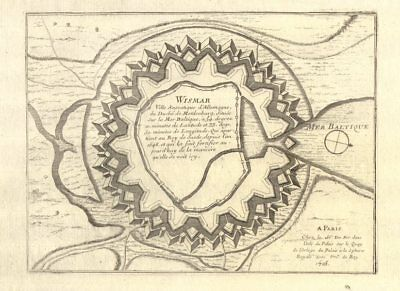 Systematic 'wismar' Fortifed Town/city Plan De Fer 1705 Old Map For Sale Mecklenburg-vorpommern