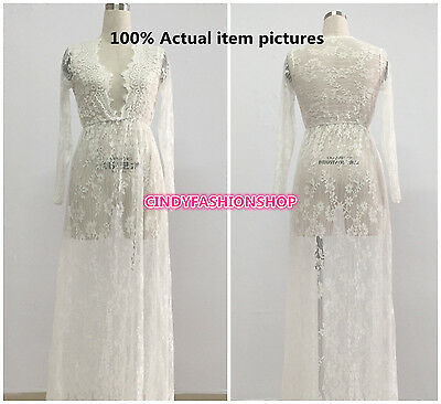 New Summer Women Deep V-Neck Lace Maxi Fashion Sexy Long Party Night Club Dress