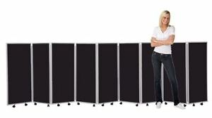 Mobile-Concertina-Folding-Room-Divider-9-panel-1200mm-high-Nyloop-Fabric