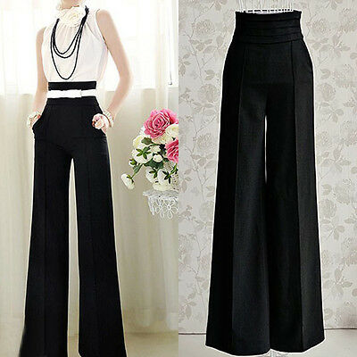 Womens Casual Black Slim High Waist Flare Wide Leg Palazzo Long Trousers Pants