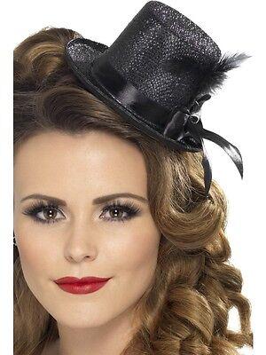 Nuovo Donna's Adult Mini Cappello & Piuma Costume Glitter Burlesque 5 Colori-mostra Il Titolo Originale