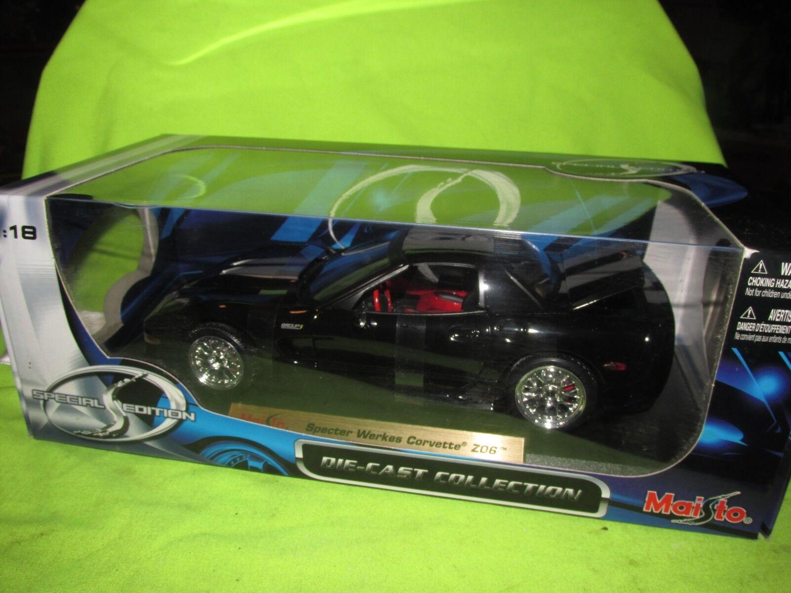 Spector Arbeiten Zo6 Corvette Maisto 1 18 Maßstab Schwarz W   Silbern Streifen  | Tragen-wider