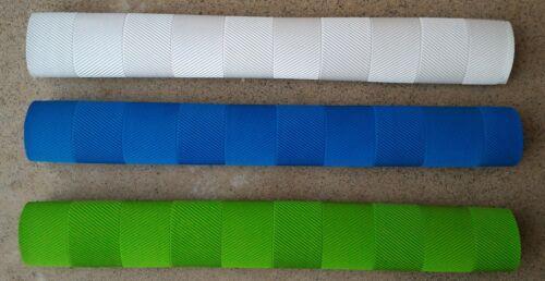 3x CHEVRON Cricket Bat Grips WHITE /& FLURO GREEN BLUE Oz Stock