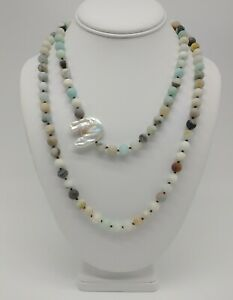 STERLING SILVER AMAZONITE BAROQUE FRESHWATER PEARL HAND KNOTTED NECKLACE