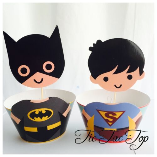 12x Batman V Superman Cupcake BIG Topper Party Supplies Lolly Bag Wrapper