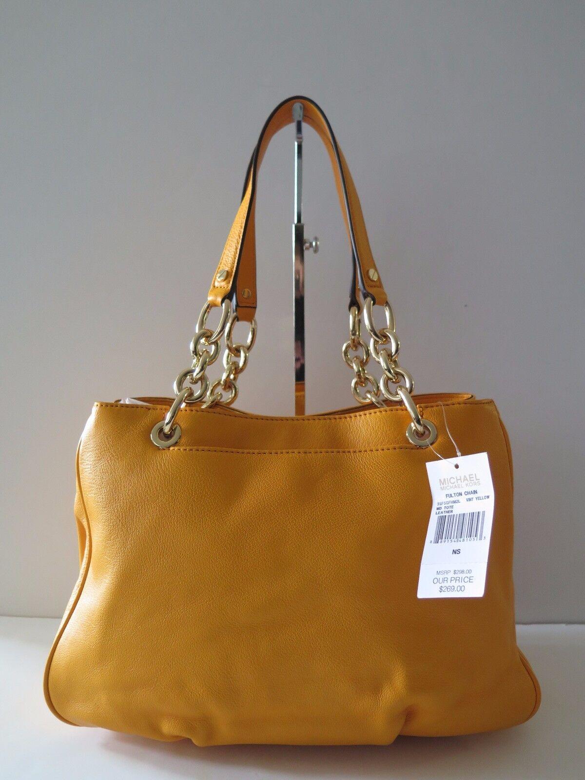 32e10d6c9549 Michael Kors Fulton Chain Medium Leather Tote 35f5gfhm2l Vintage Yellow for  sale online   eBay