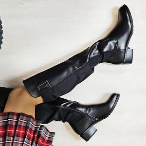 stivali in pelle casual tacco basso