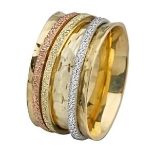 14k Tri color gold Wedding Ring Florentine Spinner Hammered Base Handmade 11mm