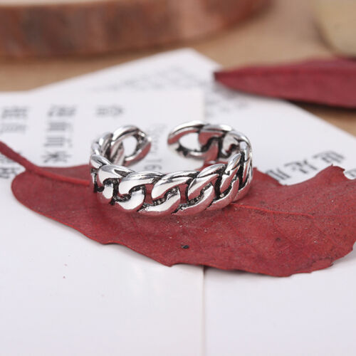 New Fashion Cool Retro Silver Plated Rings Chain Opening Rings Women Jewelry
