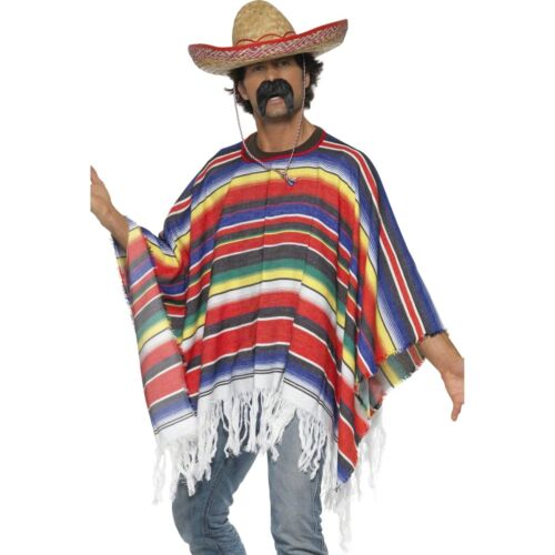 Poncho Multicoloured One Size Mexican Multicoloured Mens Fancy Dress Costume