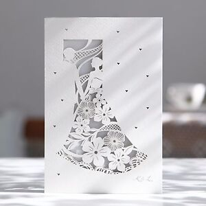 Image Is Loading Laser Cut Wedding Invitations Lovely Bride Groom