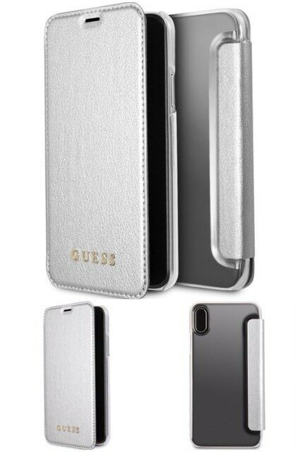 reputable site a206a 36a02 GUESS Iridescent Book DESIGNER Cases for iPhone X Different Colors Silver