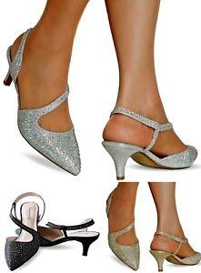 NEW Ladies Diamante Party Evening Low Kitten Heel Court Shoe Size ...