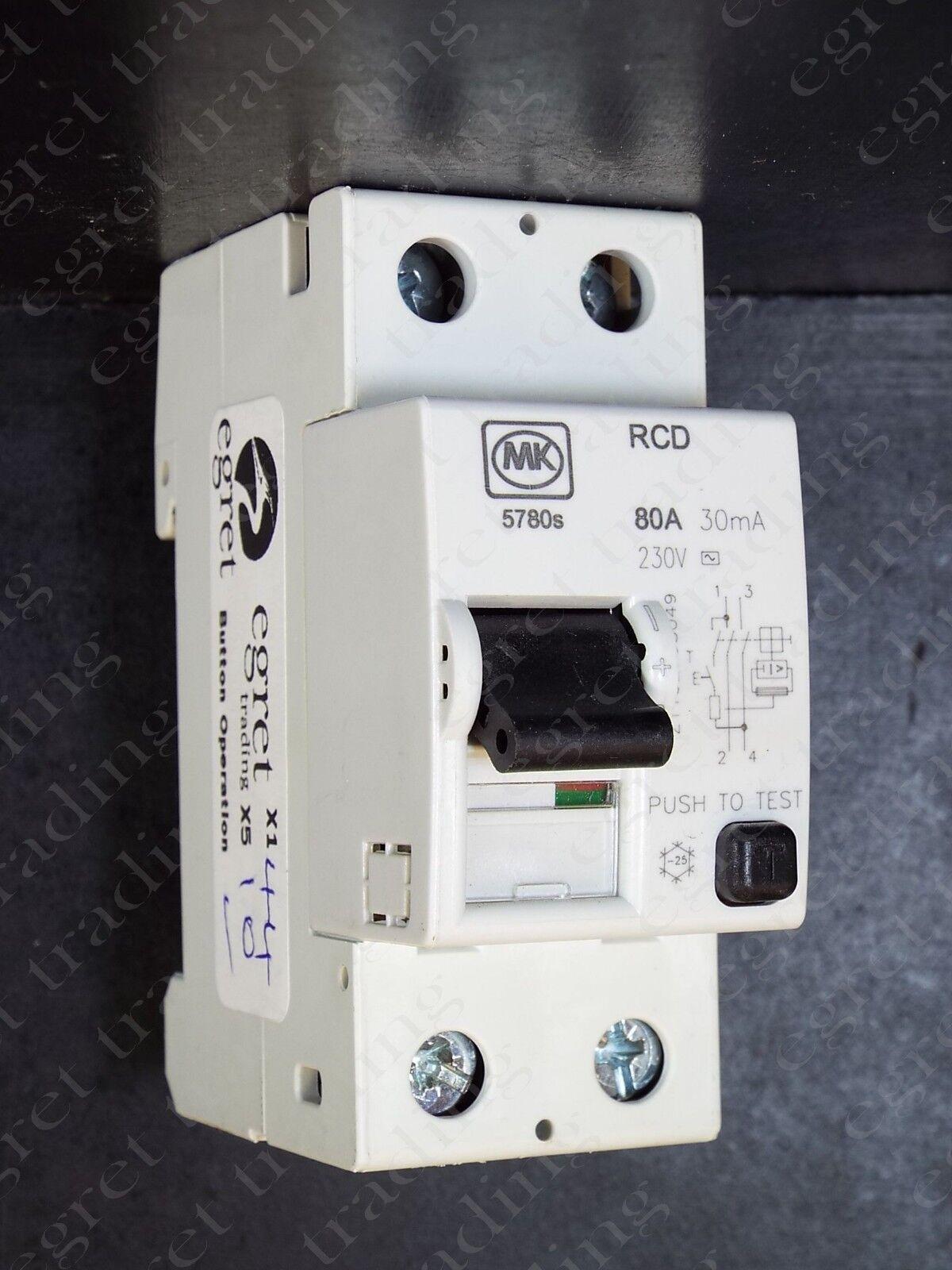MK 57 Series Double Pôle 2//4 Module 30 mA RCD Interrupteurs-Testé