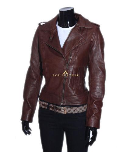 Real veste Designer Retro Style New Ladies Isabel Ladies en Brown d'agneau cuir HUBS4gWUcF