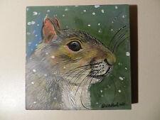 Original 6 X 6 Painting by Artist Kristine Kasheta - Grey Squirrel in Snow