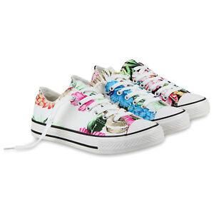 Damen Sneakers Low Blumen Prints Canvas Freizeit 811047 Schuhe
