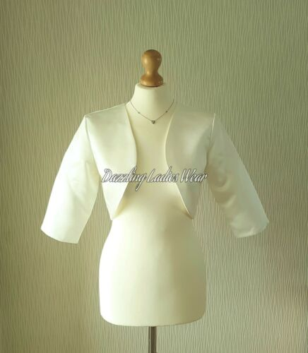 Light Ivory Satin Wedding Bolero//Shrug//Cropped//Jacket//Stole//Wrap//Shawl 3//4 //////