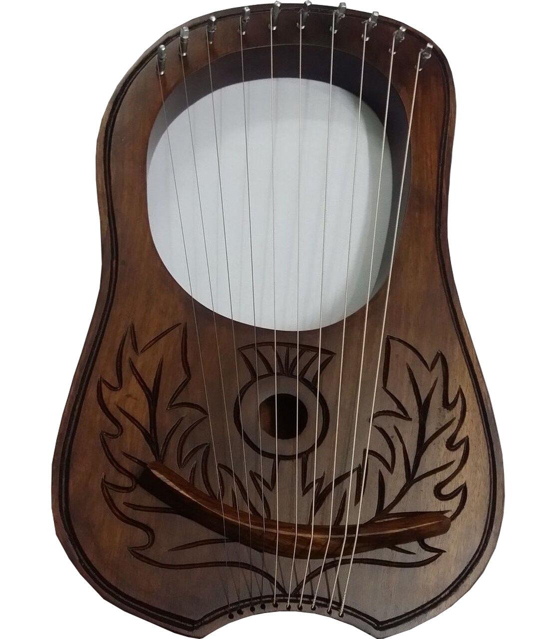 Graviertes Lyra Mundharmonika Sheesham Holz 10 Metallsaiten Gratis Tragetasche &