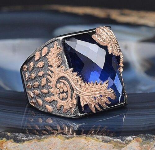 Turco Rodio Chapado Plata Esterlina 925 anillo de zafiro para hombre Mans todos nosotros si̇ze