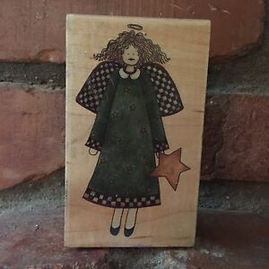 Stampington-Rubber-Stamp-D6113-Starla-Debbie-Mumm-Angel-Star-Dress-Wood-Mounted