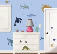 57 Under The Ocean Wall Decals Sea Turtle Whales Dolphin Stickers Decor