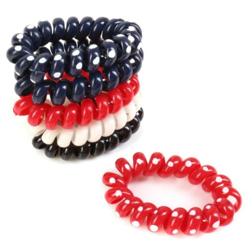 RED BLUE WHITE KIDS HAIR BANDS Spiral Coiled No Snag Endless Loops Ties NO METAL