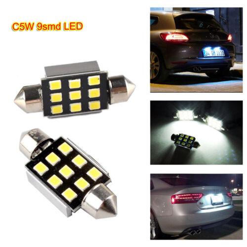 2x 5W LED C5W 239 272 9smd 38mm Festoon Bulb No Error Number Plate Light White