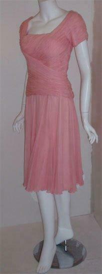CEIL CHAPMAN 1960s Pink Chiffon Bodice Cocktail D… - image 3