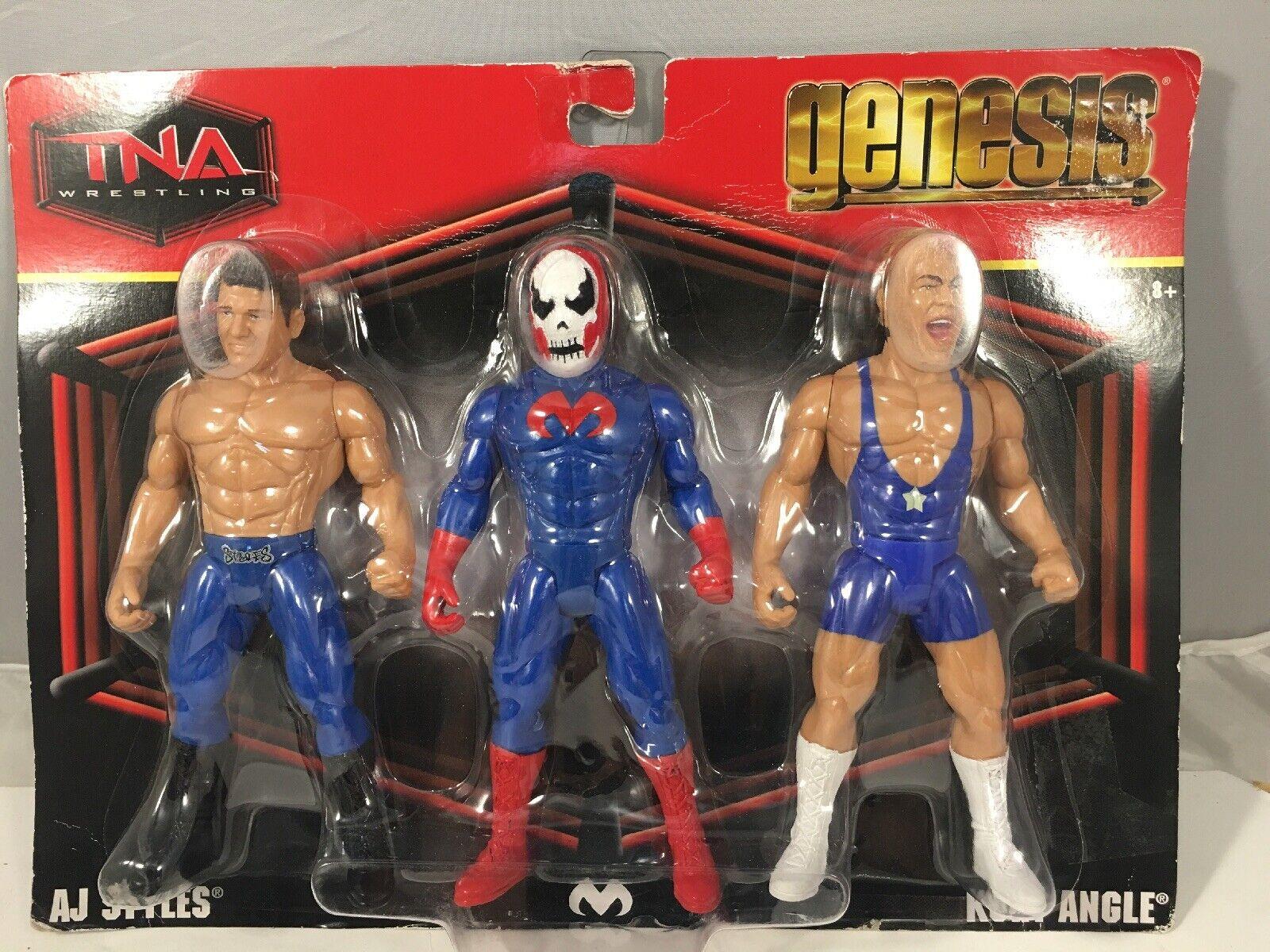 TNA WWE Wrestling Genesis Figur Trippel packa AJ Styles, Suicide Kurt Angle
