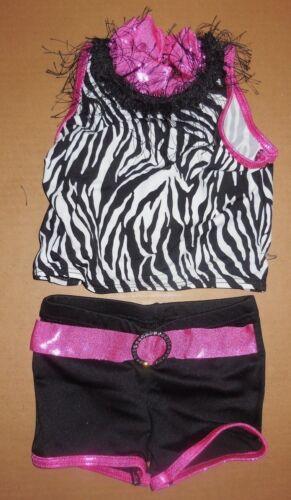 NWT Tap Jazz  Costume Ladies 2 piece Fringy collar Zebra print booty shorts ch//l