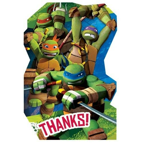 ~ Birthday Party Supplies TEENAGE MUTANT NINJA TURTLES THANK YOU NOTES 8