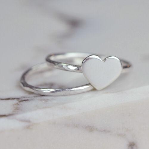 Handmade 925 Sterling Silver Medium Heart Ring Set Heart ring and stacker ring