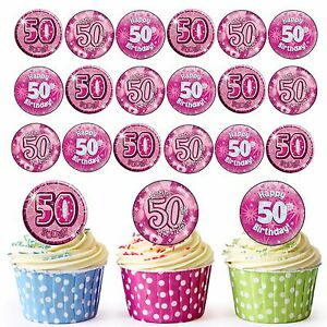 Image Is Loading 24 Pre Cut Happy 50th Birthday Edible Cupcake