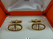 Authentic Hermes AU750 GOLD Cufflinks 'Marine'
